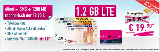 T-Mobile AllNet Flat + SMS Flat + 1,2 GB Flat nur 19,90 EUR