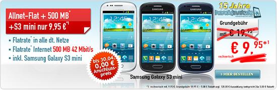 All Net Flat 500 MB mit Samsung Galaxy S3 mini nur 9,95 €