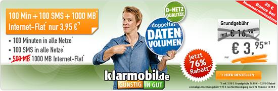 100 Minuten + 1 GB Flatrate im D-Netz für nur 3,95 EUR