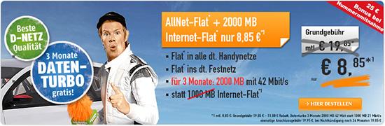 All Net Flat mit 1GB Datenflatrate für nur 8,85 EUR