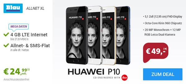 Huawei P10 64GB + AllNet XL mit 4GB Datenflat für nur 24,99 EUR