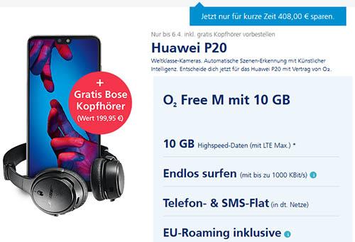 O2 Free M Huawei P20 Bose Kopfhoerer Mobilfunk Angebote Handy
